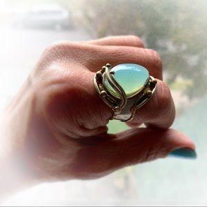Teardrop Artisan Chalcedony Aqua Adjustable Ring